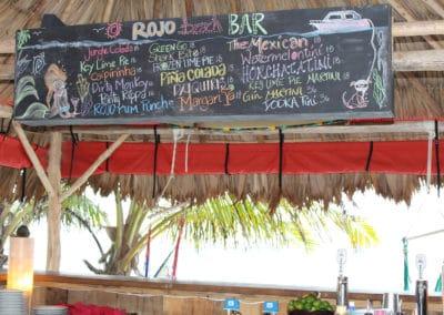 Rojo Beach Bar Menu