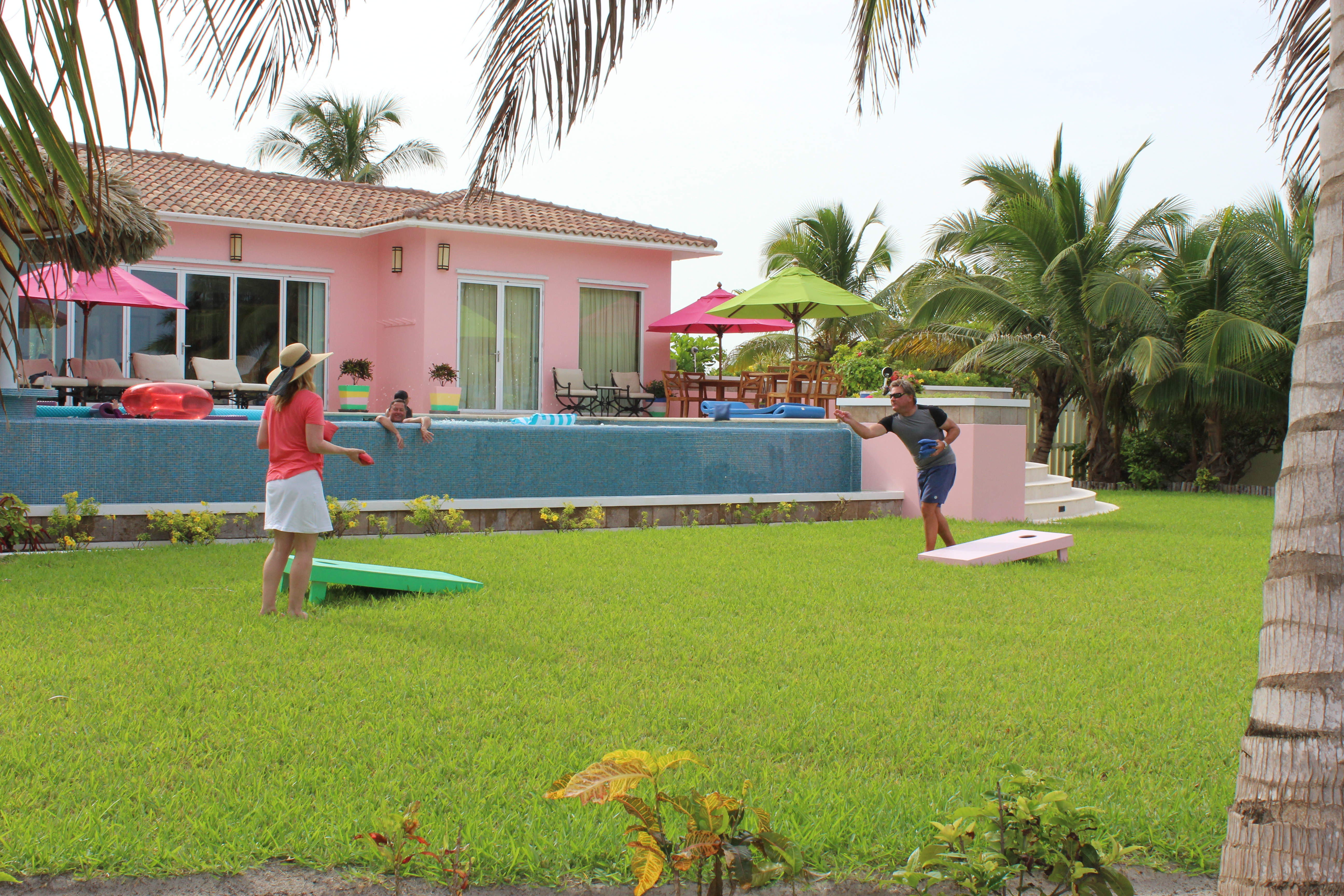 Canary Cove Villa Private Infinity Pool and Corn Hole on the Lawn