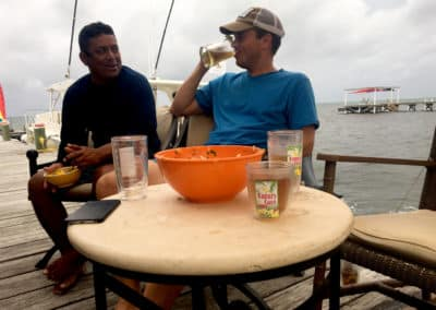 Divemaster Palma Enjoying Fresh Ceviche with Guest