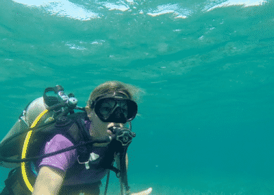 Canary Cove Guest on her Checkout SCUBA Dive